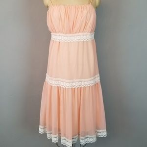Vintage Peach Dress with Ivory Lace